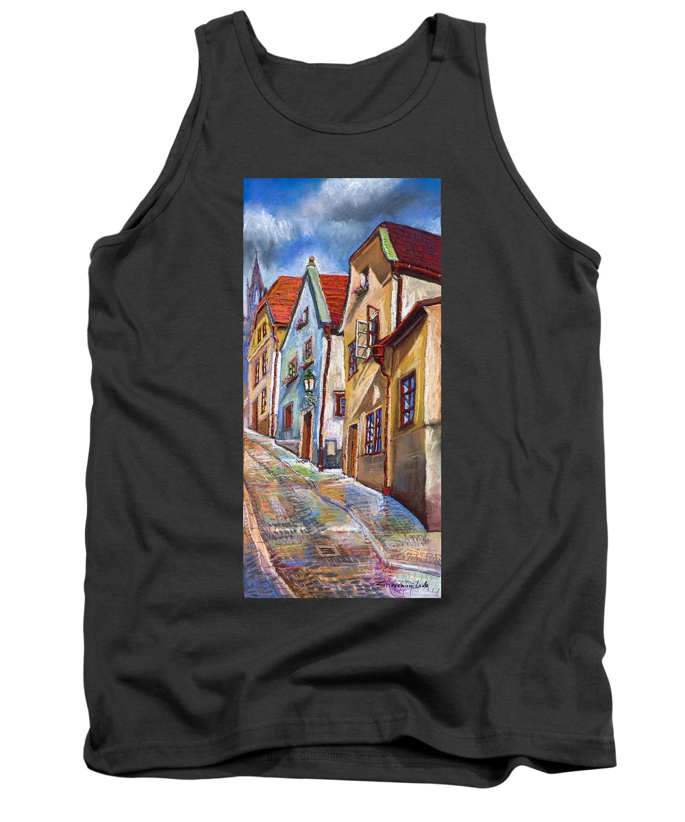 Pastel Chesky Krumlov Old Street Architectur Tank Top featuring the painting Cesky Krumlov Old Street 2 by Yuriy Shevchuk