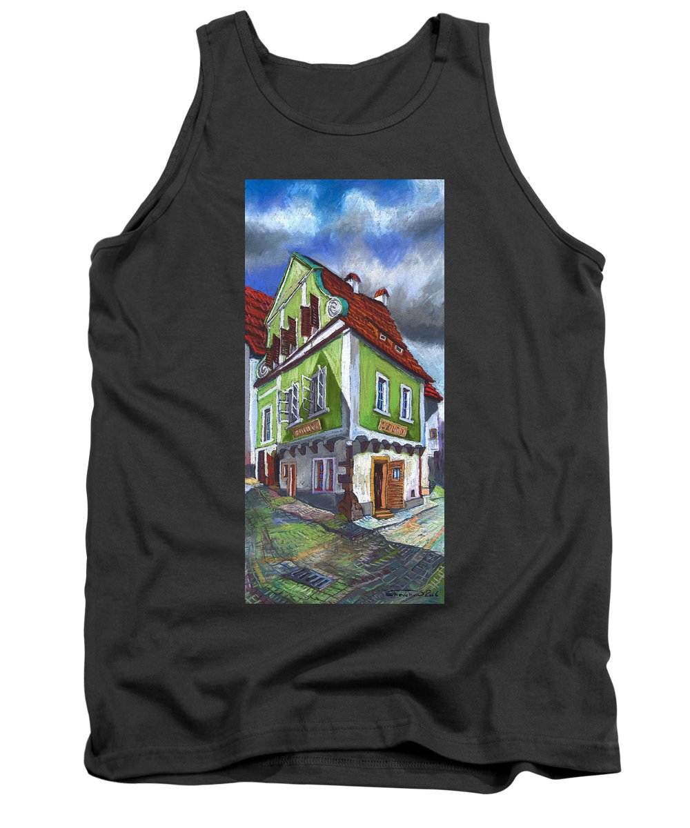 Pastel Chesky Krumlov Old Street Cityscape Realism Architectur Tank Top featuring the painting Cesky Krumlov Old Street 3 by Yuriy Shevchuk