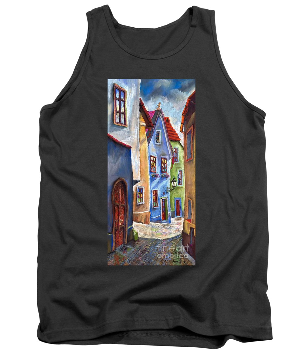 Cityscape Tank Top featuring the painting Cesky Krumlov Old Street by Yuriy Shevchuk