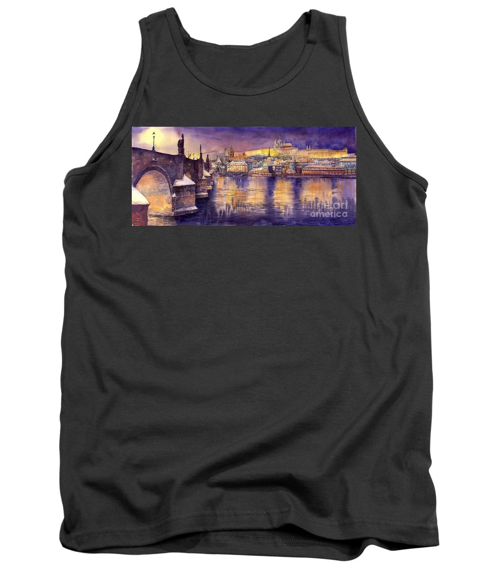 Cityscape Tank Top featuring the painting Charles Bridge and Prague Castle with the Vltava River by Yuriy Shevchuk