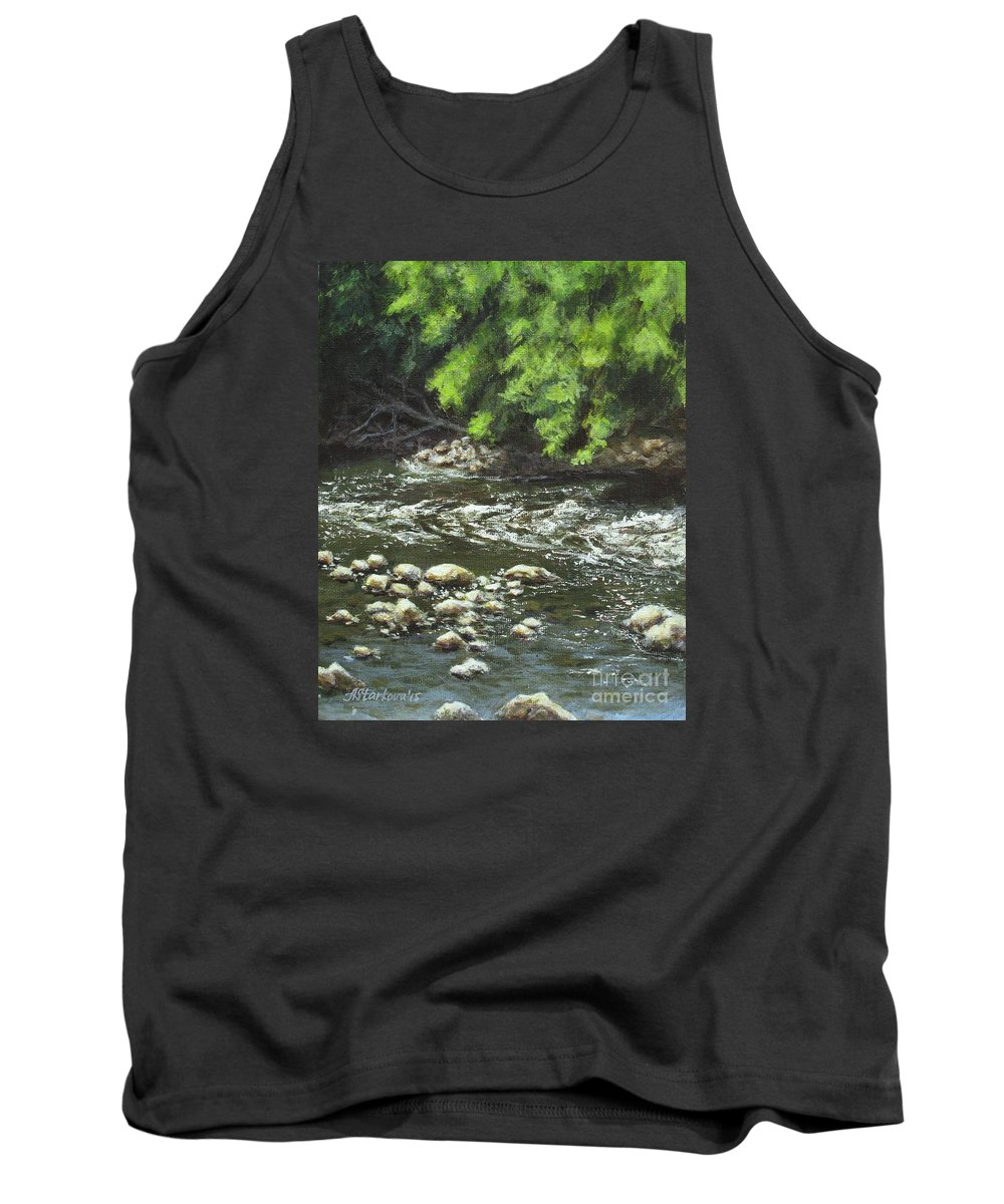 River Tank Top featuring the painting Charles On The Rocks by Anna Starkova