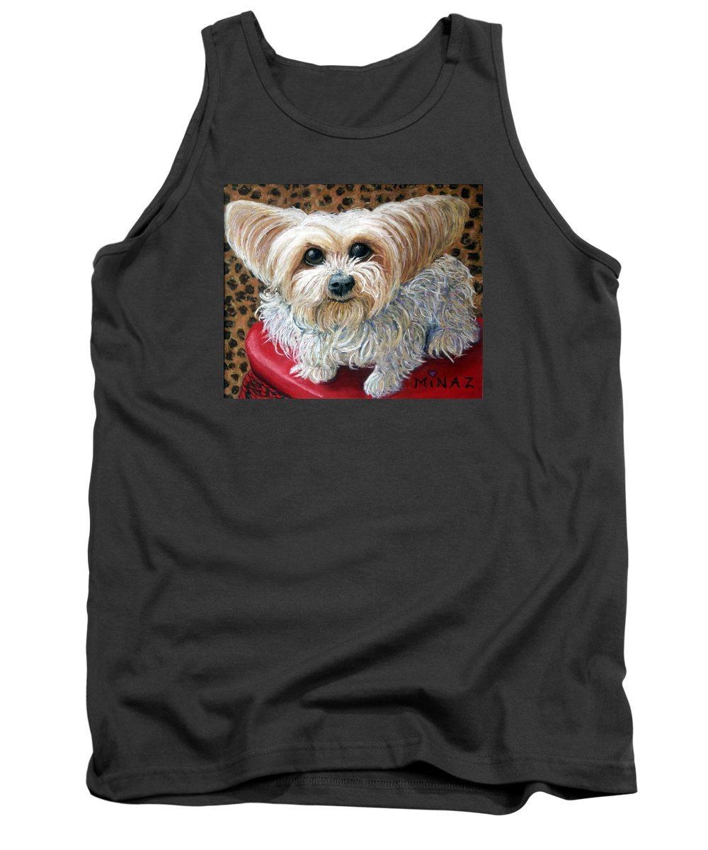 Dog Tank Top featuring the painting My Friend by Minaz Jantz