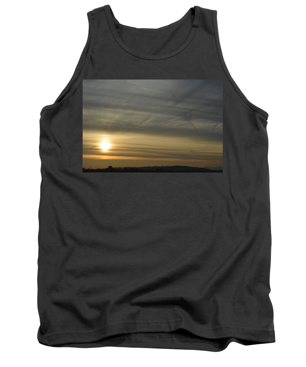 Sky Sun Sunrise Yellow Blue Contrast Morning Muted Colours Tank Top featuring the photograph Chequered Sky by James Herman
