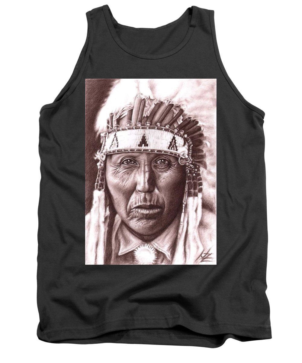 Indian Tank Top featuring the drawing Cherokee by Nicole Zeug