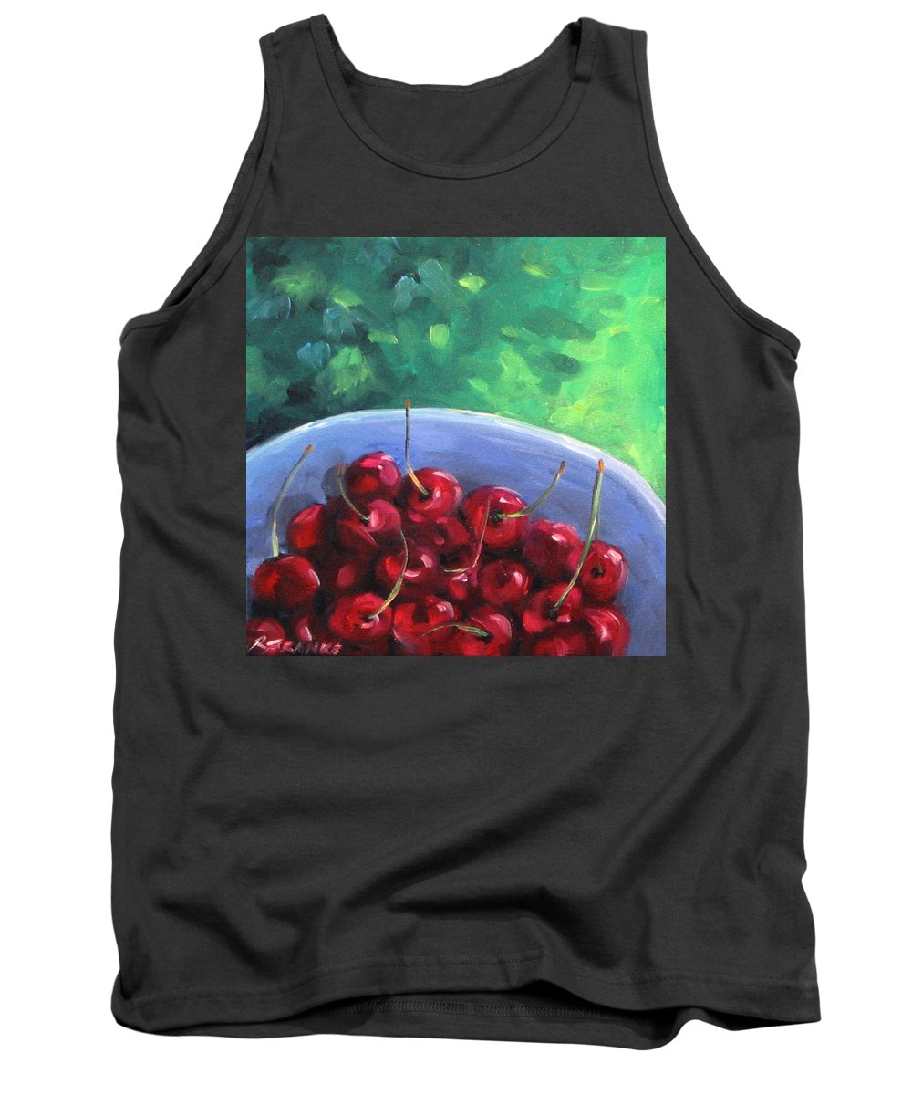 Art Tank Top featuring the painting Cherries On A Blue Plate by Richard T Pranke