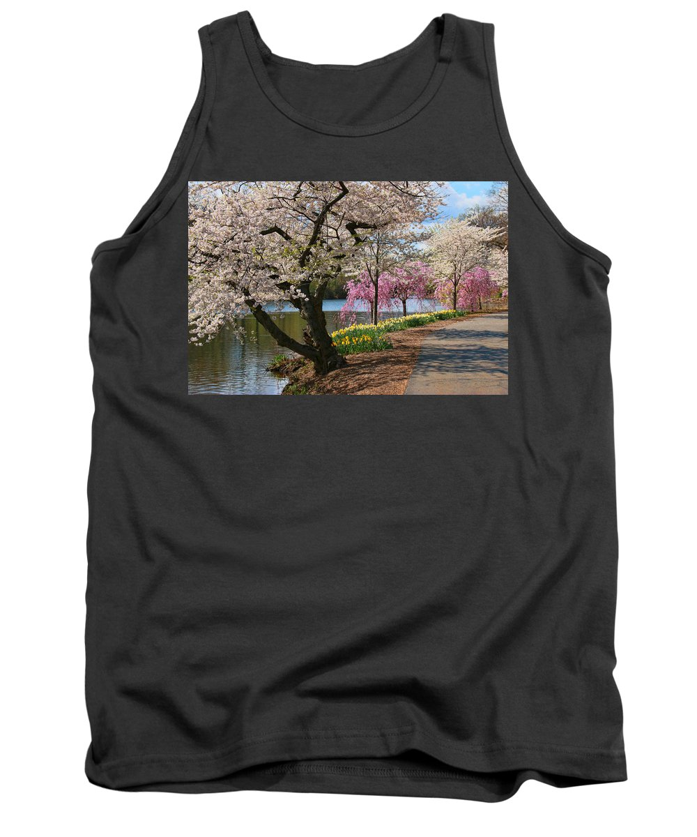Cherry Blossoms Tank Top featuring the photograph Cherry Blossom Trees Of Branch Brook Park 17 by Allen Beatty