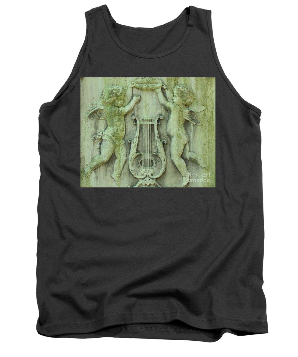 Angels Tank Top featuring the photograph Cherubs In Moss Green by Leonore VanScheidt