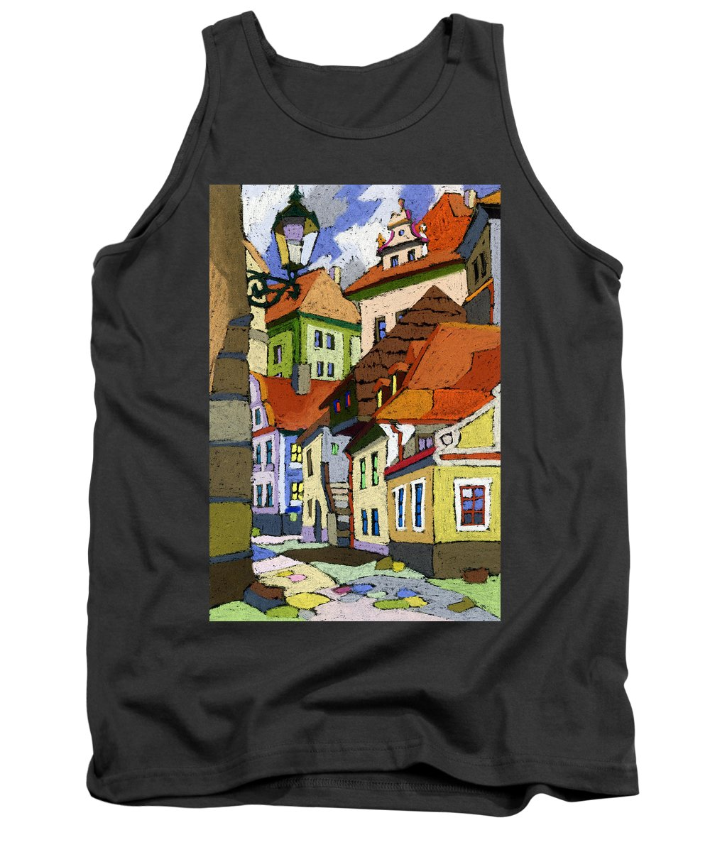 Pastel Tank Top featuring the painting Chesky Krumlov Masna Street 1 by Yuriy Shevchuk