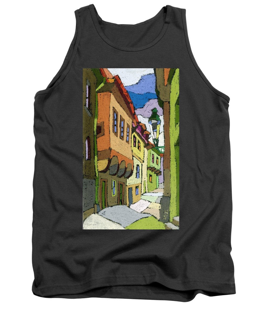Pastel Tank Top featuring the painting Chesky Krumlov Street Nove Mesto by Yuriy Shevchuk