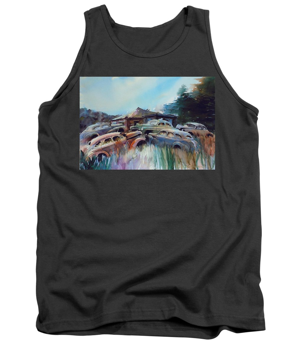 Chevs Tank Top featuring the painting Chevs on the Slide by Ron Morrison