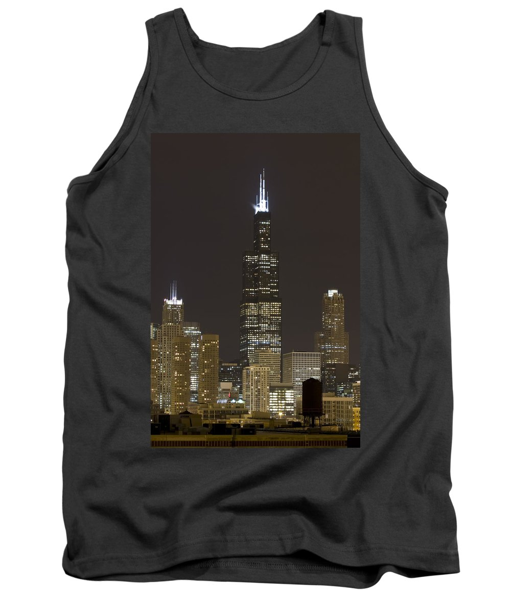 City Sky Skyline Wind Windy Windycity Il Chicago Night Dark Light Lights Street Building Tall House Tank Top featuring the photograph Chicago At Night by Andrei Shliakhau