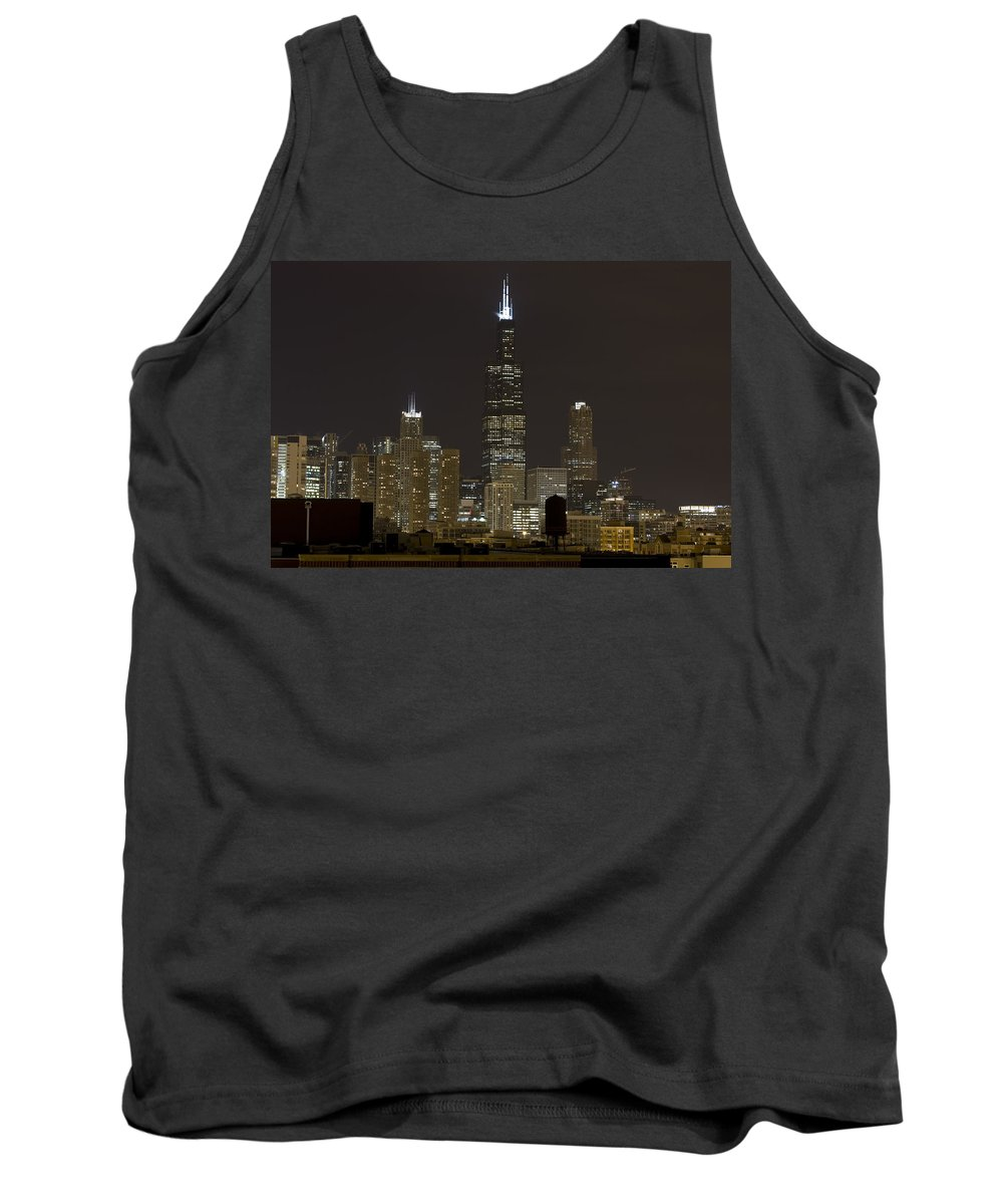 City Sky Skyline Wind Windy Windycity Il Chicago Night Dark Light Lights Street Building Tall House Tank Top featuring the photograph Chicago At Night I by Andrei Shliakhau