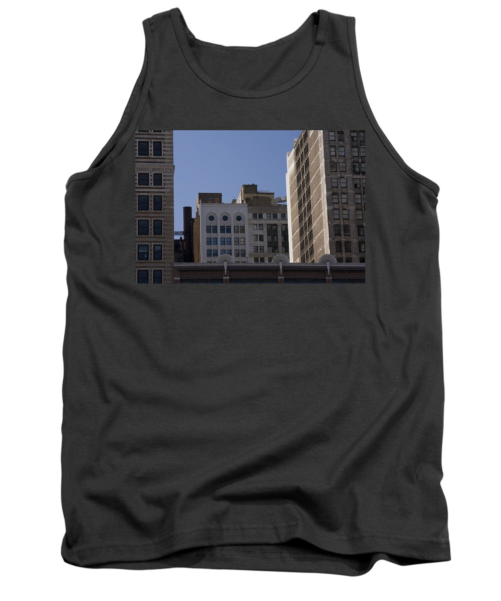 Chicago City Wind Windy Metro Urban Building Blue Sky Tall Big Windows Tank Top featuring the photograph Chicago Buildings by Andrei Shliakhau