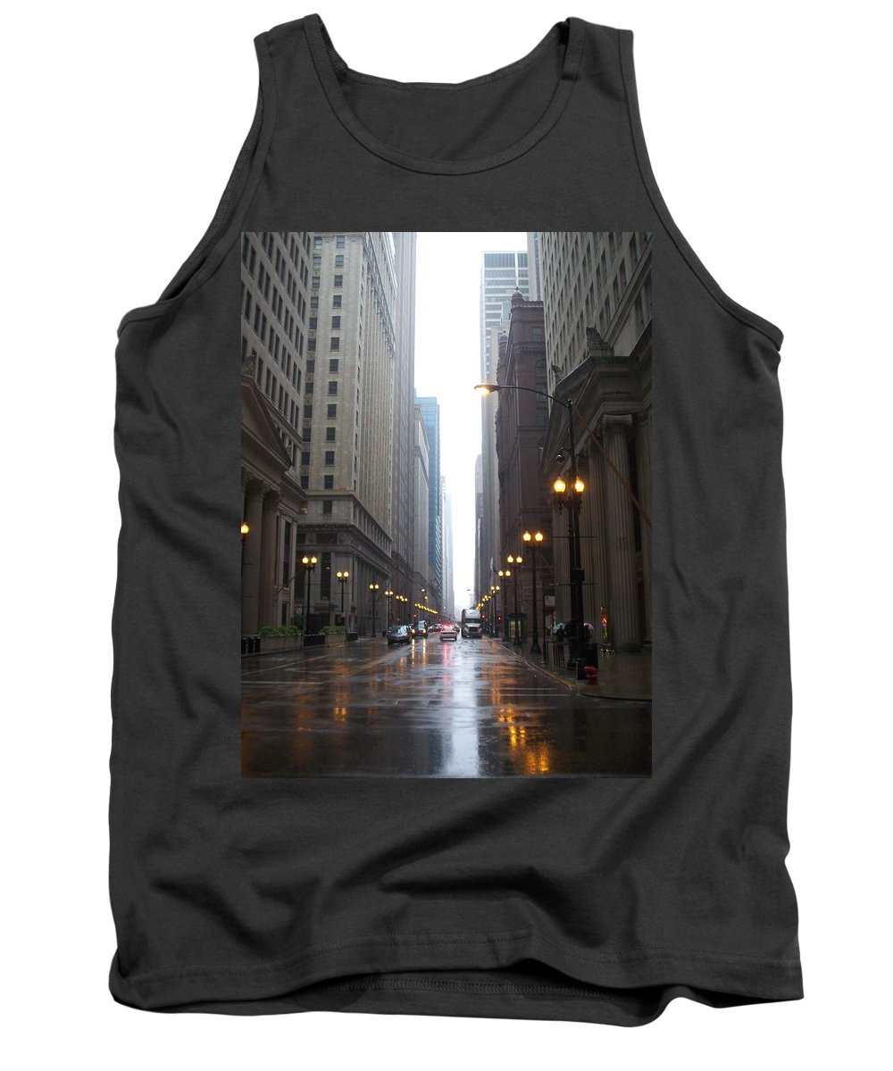 Chicago Tank Top featuring the photograph Chicago In The Rain 2 by Anita Burgermeister