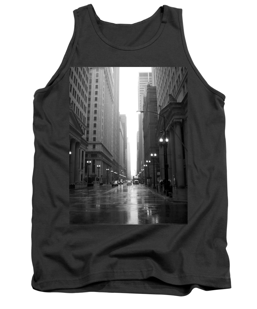 Chicago Tank Top featuring the photograph Chicago In The Rain 2 B-w by Anita Burgermeister
