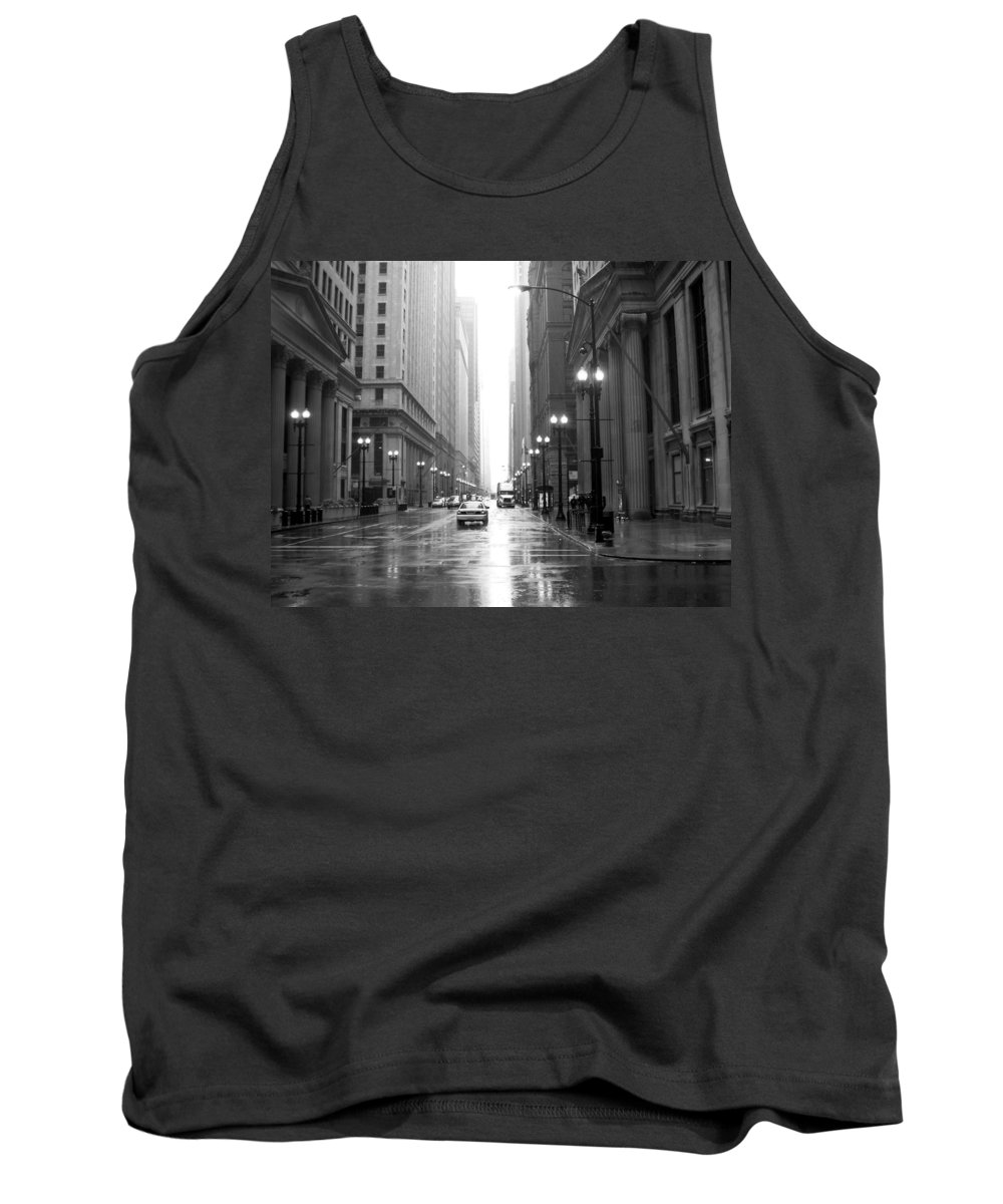 Chicago Tank Top featuring the photograph Chicago In The Rain B-w by Anita Burgermeister