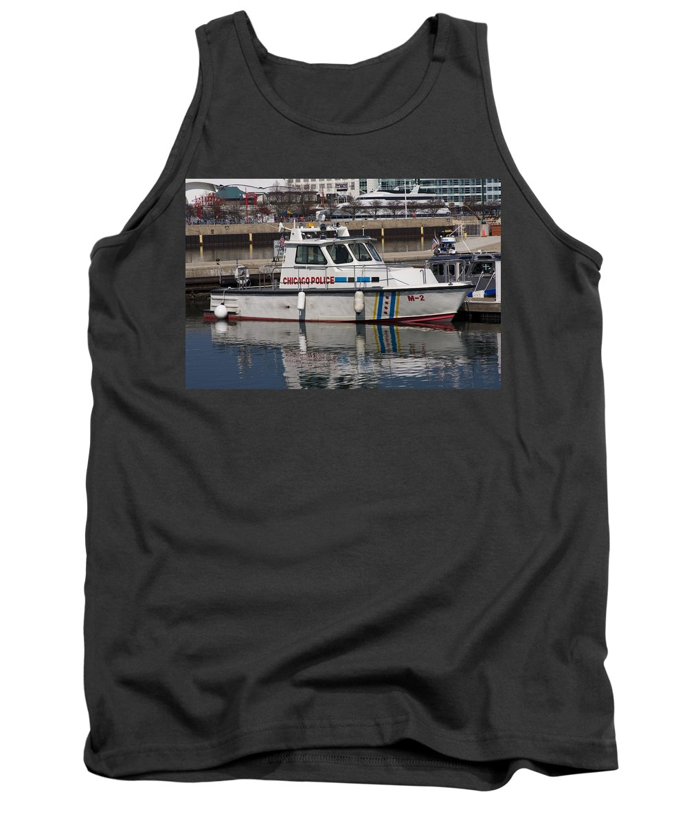 Chicago Police Windy City Water Lake Michigan Reflection Boat White Blue Tank Top featuring the photograph Chicago Police by Andrei Shliakhau