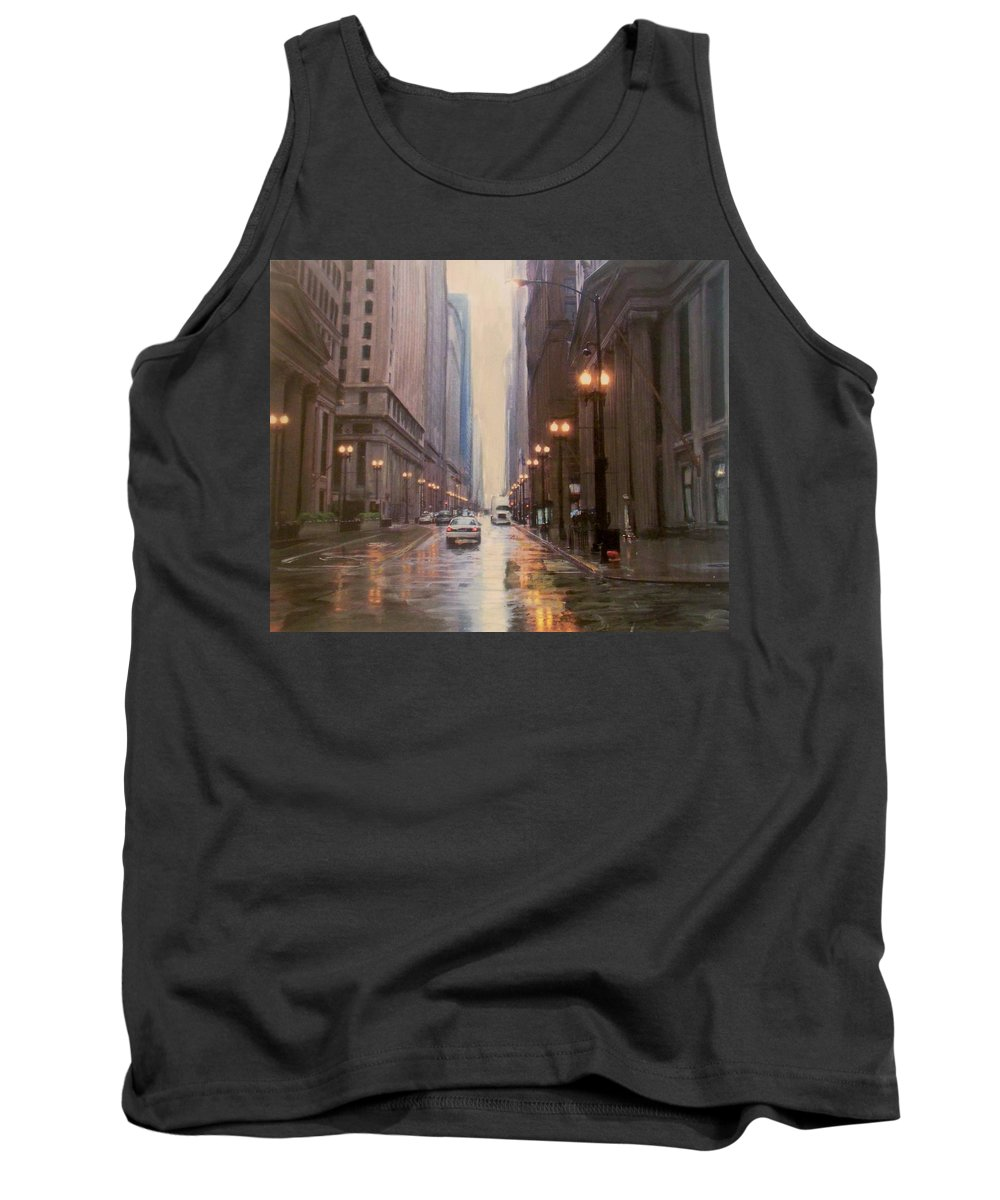 Chicago Tank Top featuring the painting Chicago Rainy Street by Anita Burgermeister