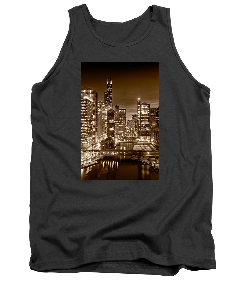 Boeing Tank Top featuring the photograph Chicago River City View B And W by Steve gadomski