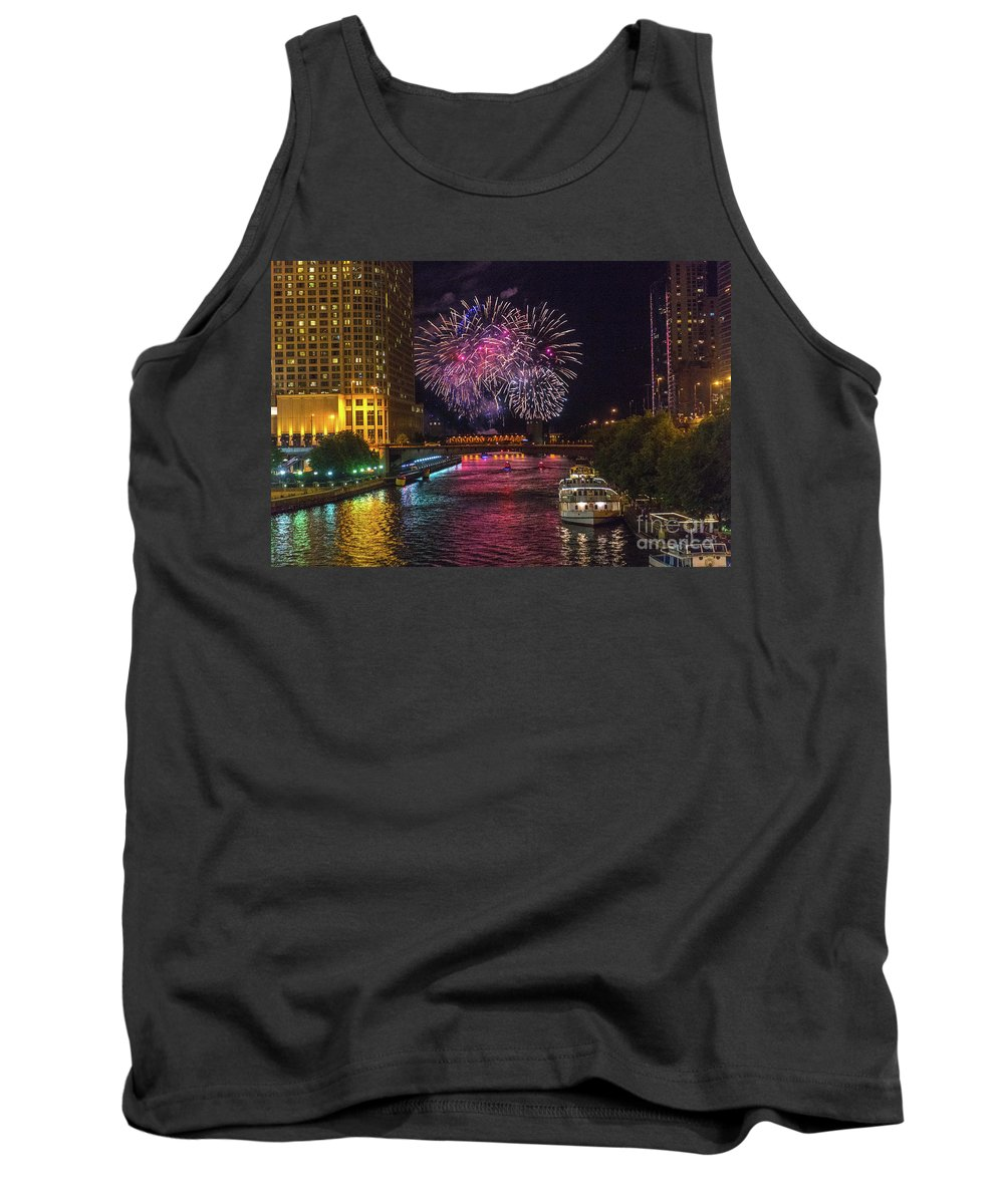 Fireworks Tank Top featuring the photograph Chicago River Fireworks by Randy Kostichka