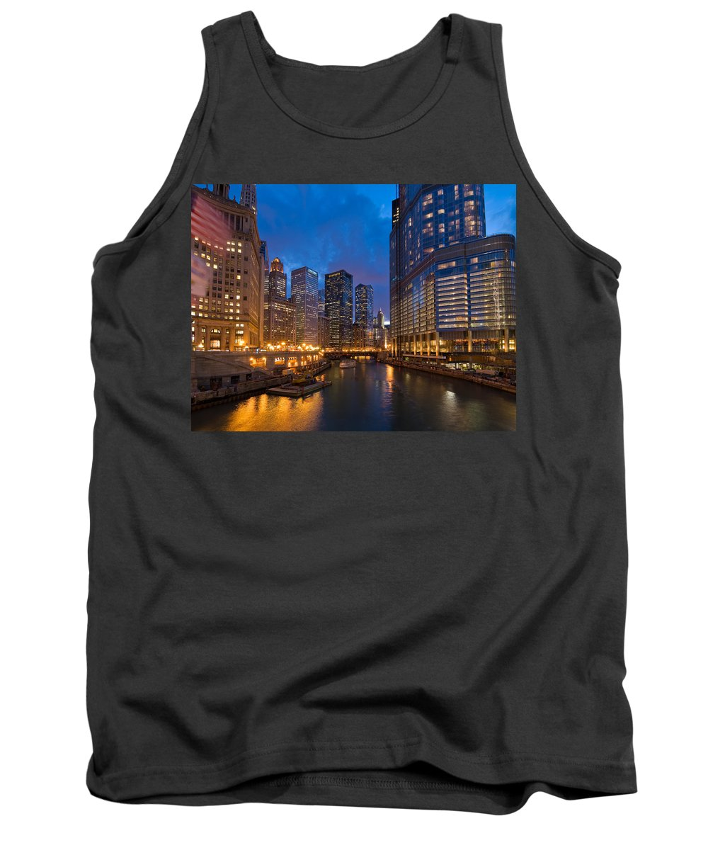 Architecture Tank Top featuring the photograph Chicago River Lights by Steve Gadomski