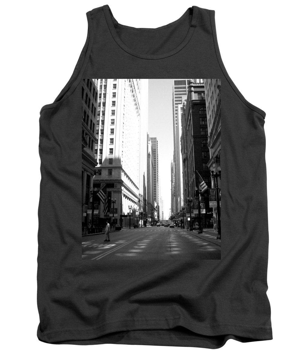 Chicago Tank Top featuring the photograph Chicago Street With Flags B-w by Anita Burgermeister