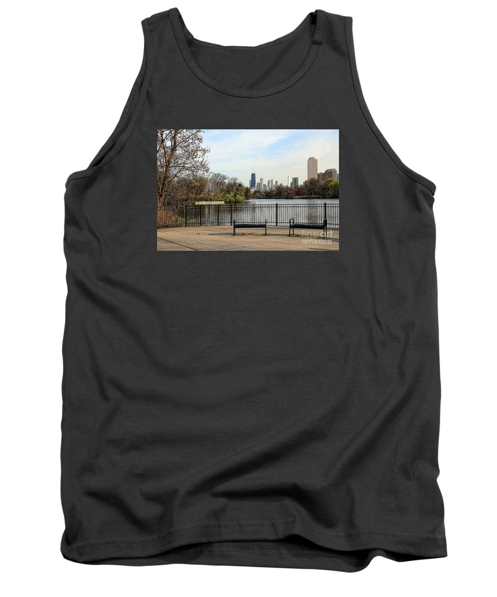 Photograph Tank Top featuring the photograph Chicago With Benches by Anna Sheradon