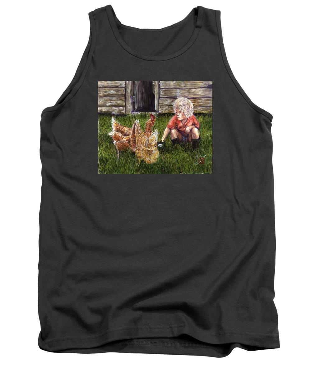 Chickens Tank Top featuring the painting Chicken Feed by Arlene Wright-Correll