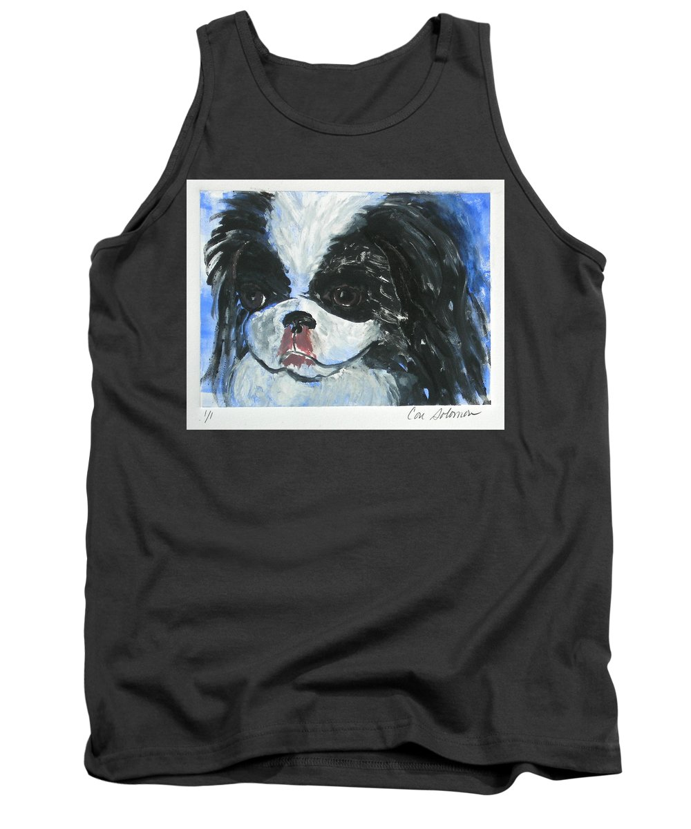 Monotype Tank Top featuring the mixed media Chin-wow by Cori Solomon
