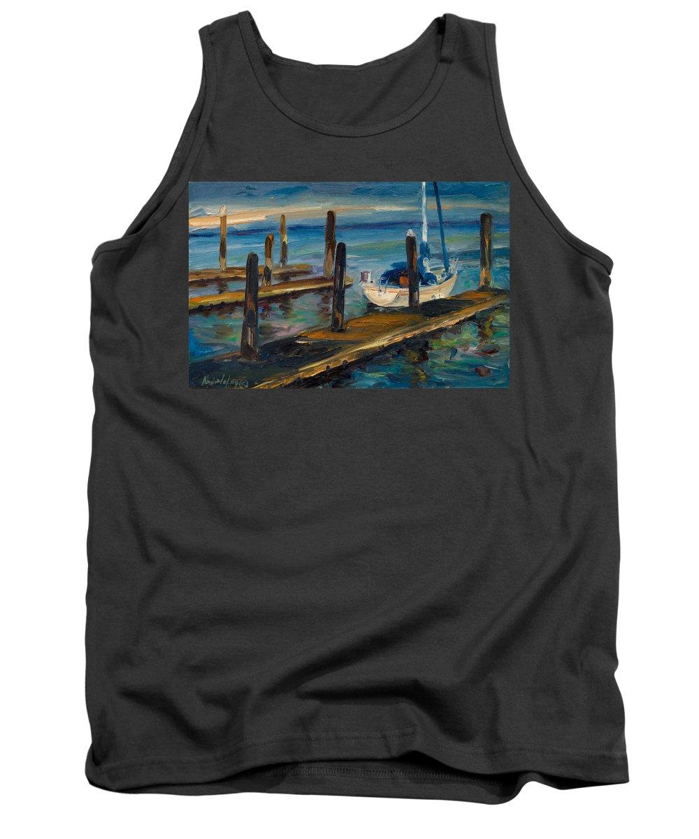 Marina Tank Top featuring the painting China Basin Docks by Rick Nederlof