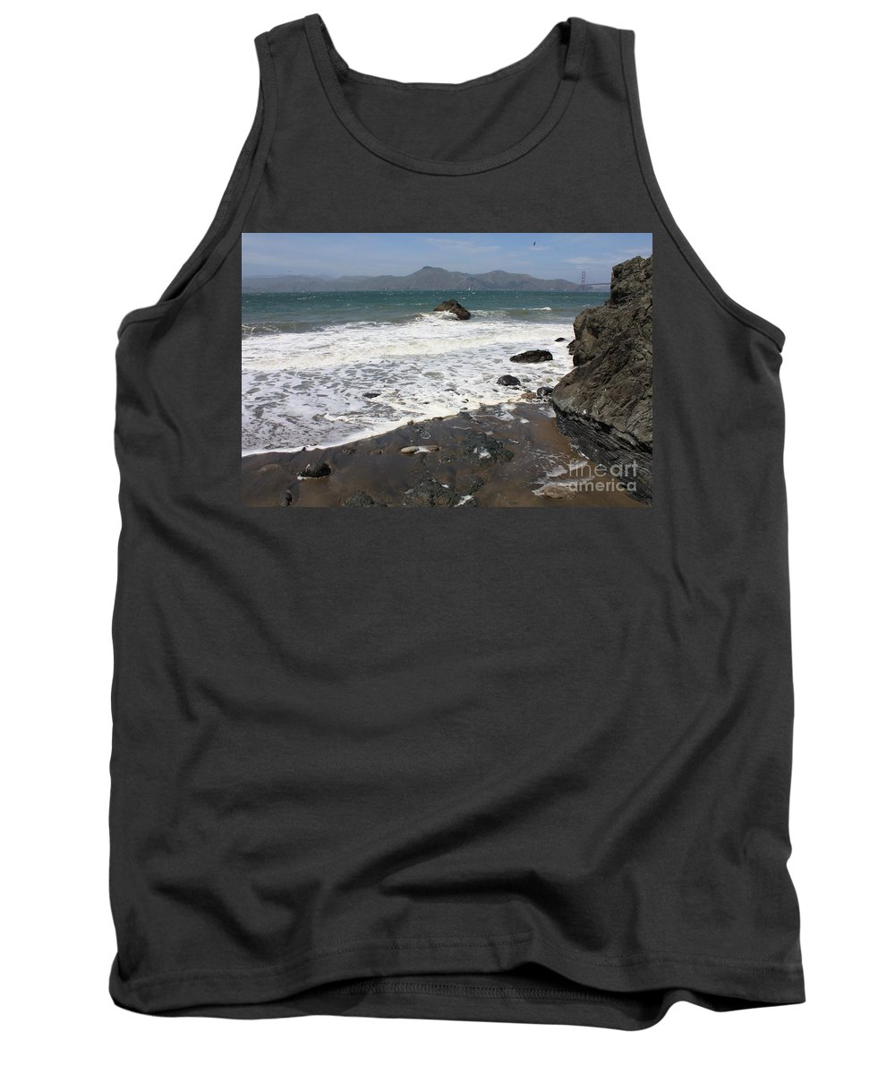 San Francisco Tank Top featuring the photograph China Beach With Outgoing Wave by Carol Groenen