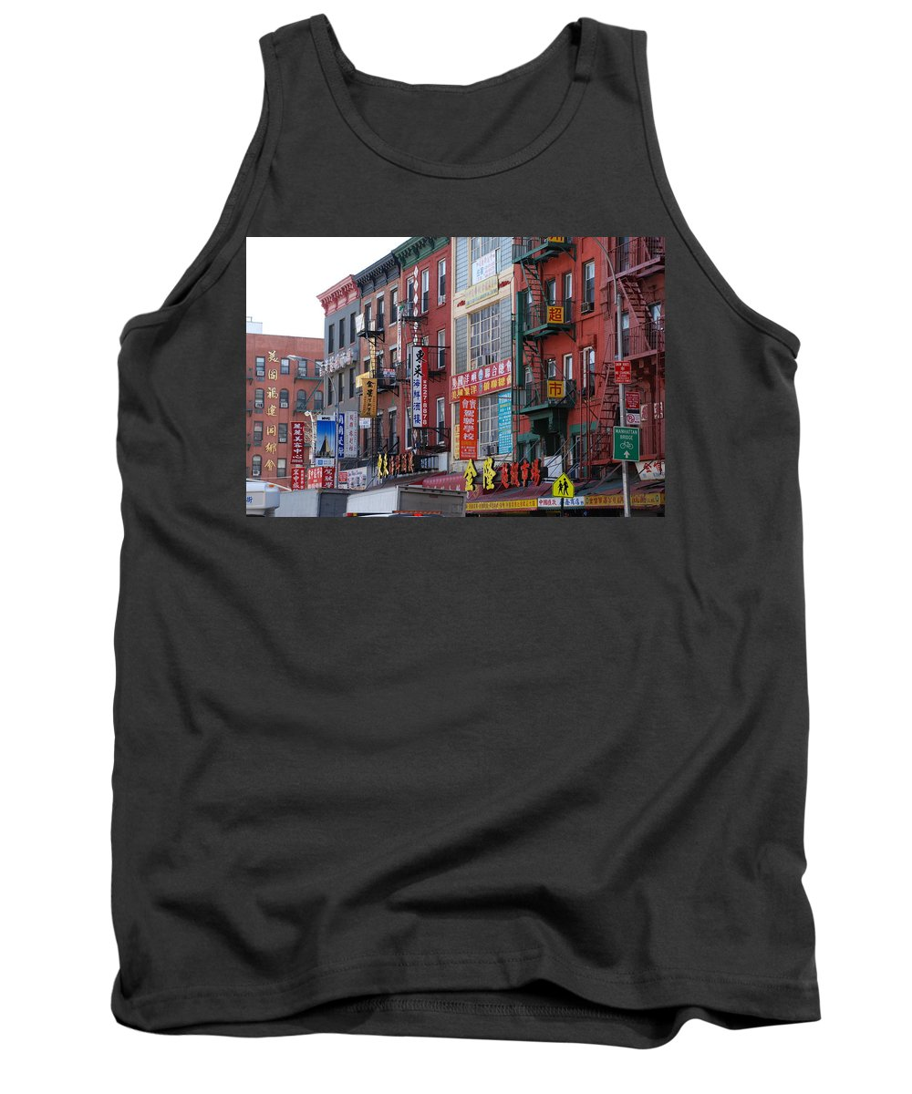 Architecture Tank Top featuring the photograph China Town Buildings by Rob Hans