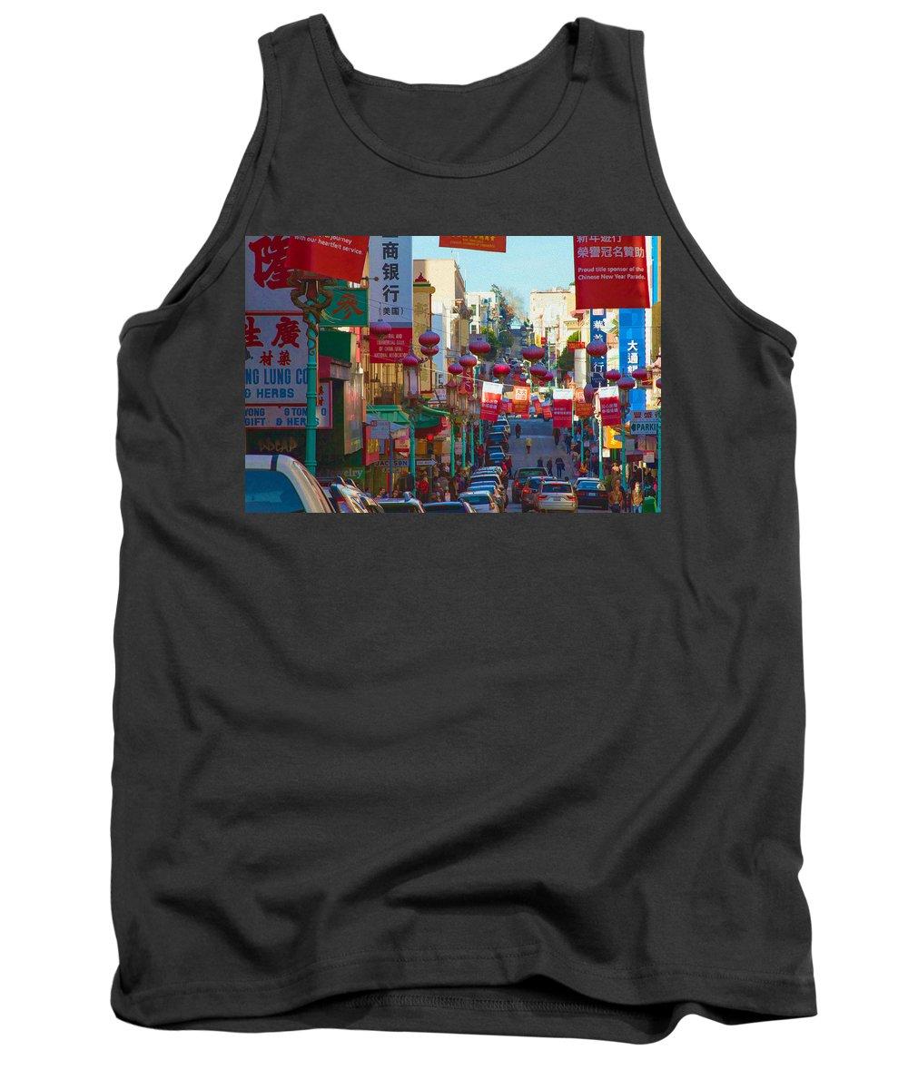 Bonnie Follett Tank Top featuring the photograph Chinatown Street Scene by Bonnie Follett