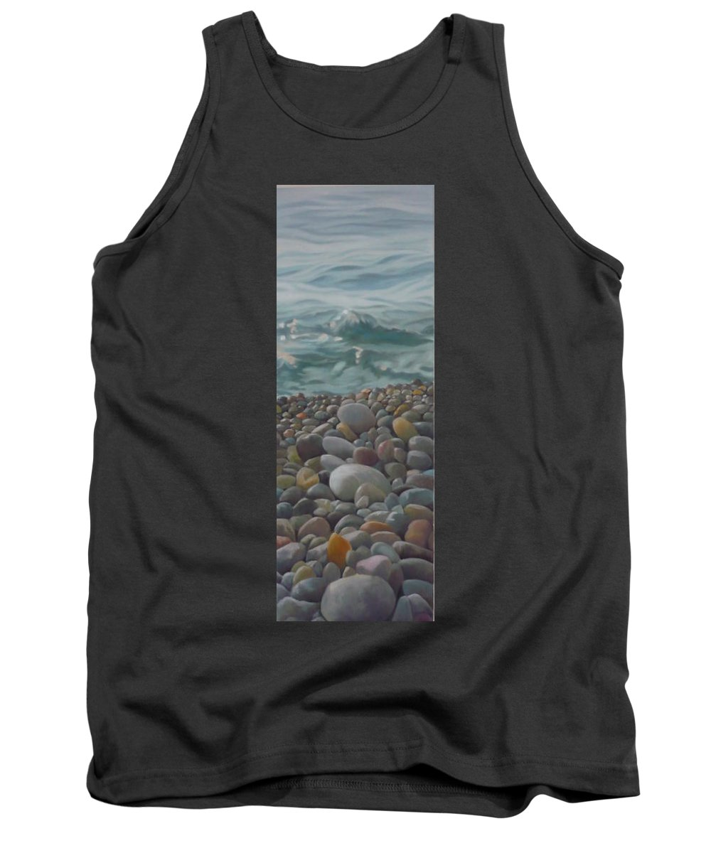 Sea Oil Pebbles Beach Stones Tank Top featuring the painting Chios Pebbles by Caroline Philp