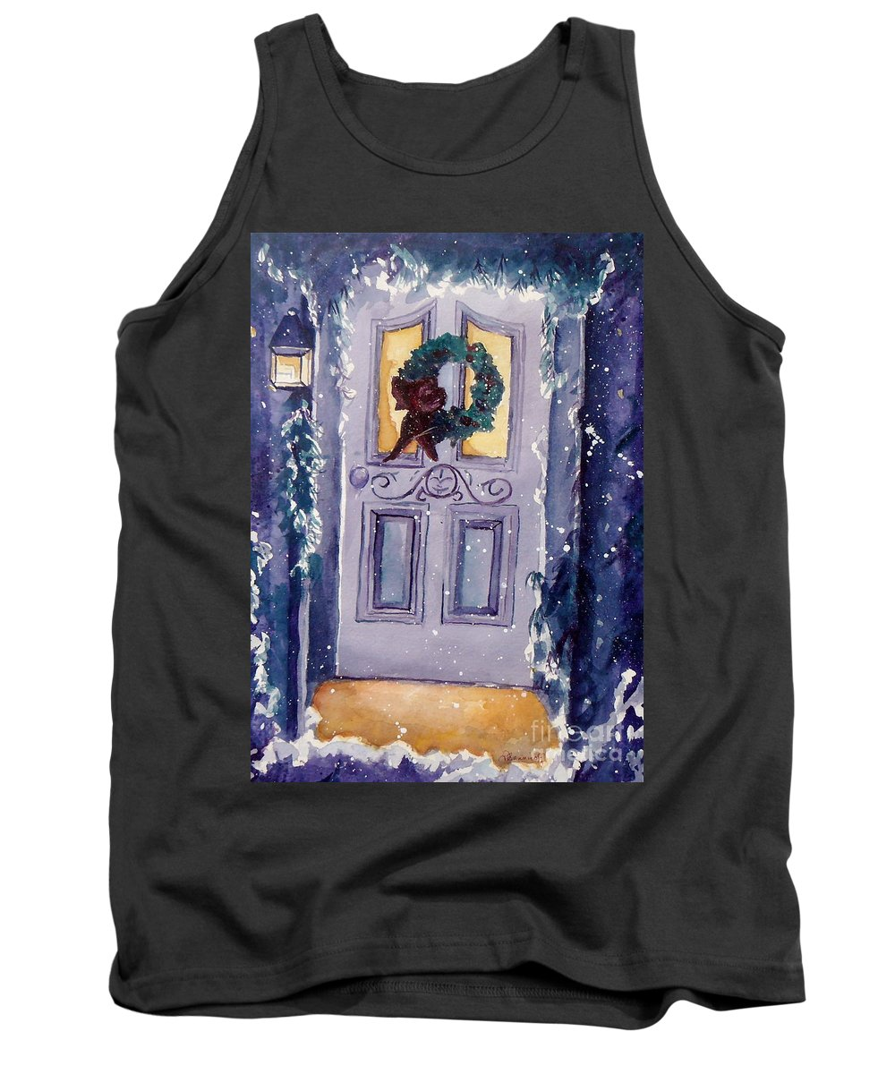 Holiday Scene Tank Top featuring the painting Christmas Eve by Jan Bennicoff