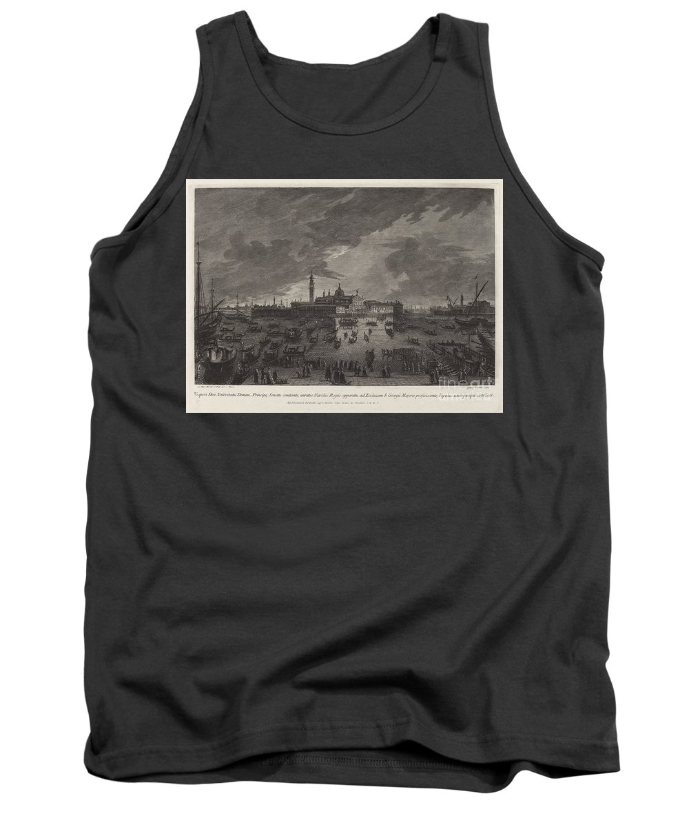 Tank Top featuring the drawing Christmas Eve Procession To San Giorgio Maggiore by Giovanni Battista Brustolon After Giovanni Battista Moretti