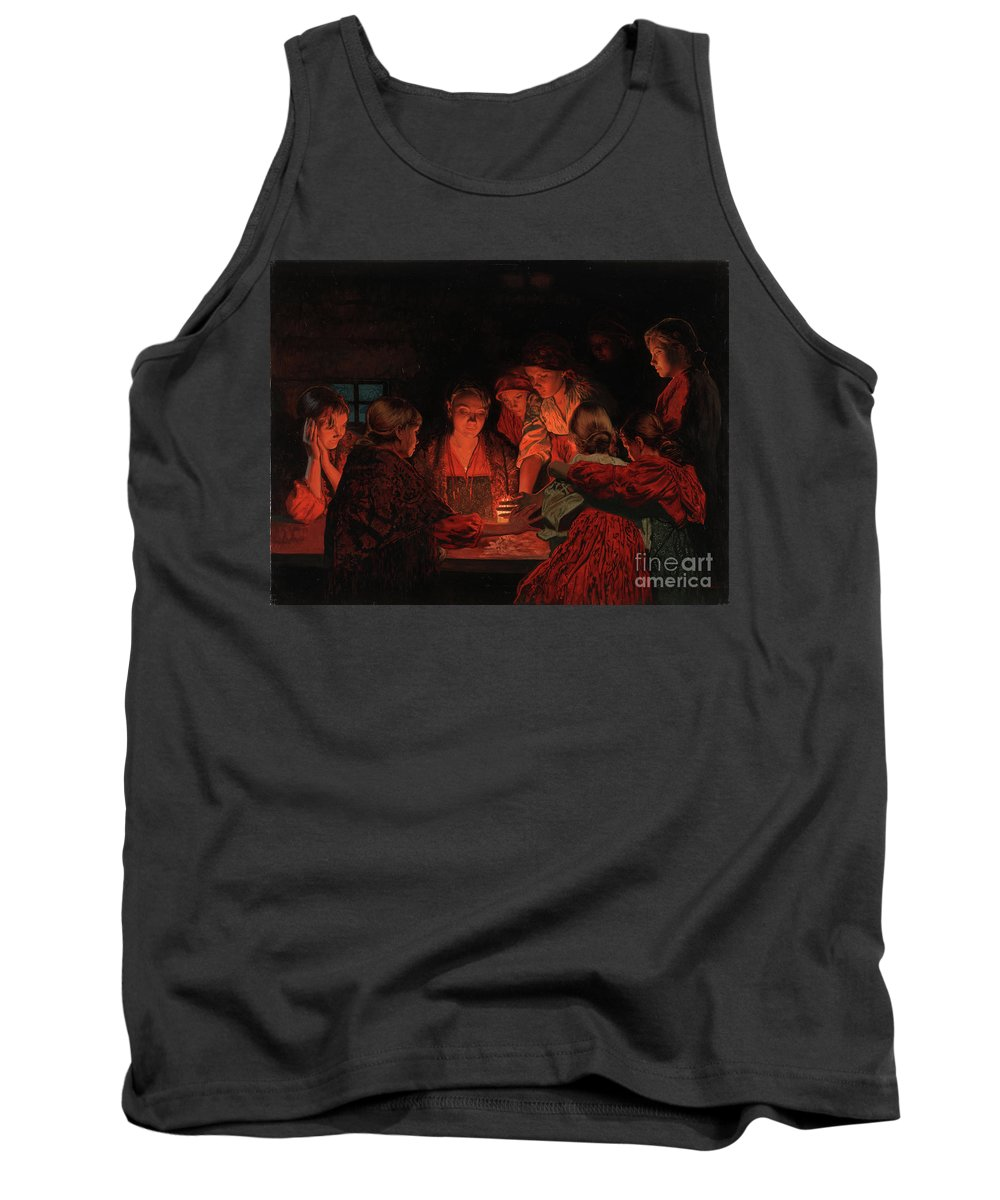 Christmas Tank Top featuring the painting Christmas Fortune-telling. by Simon Kozhin