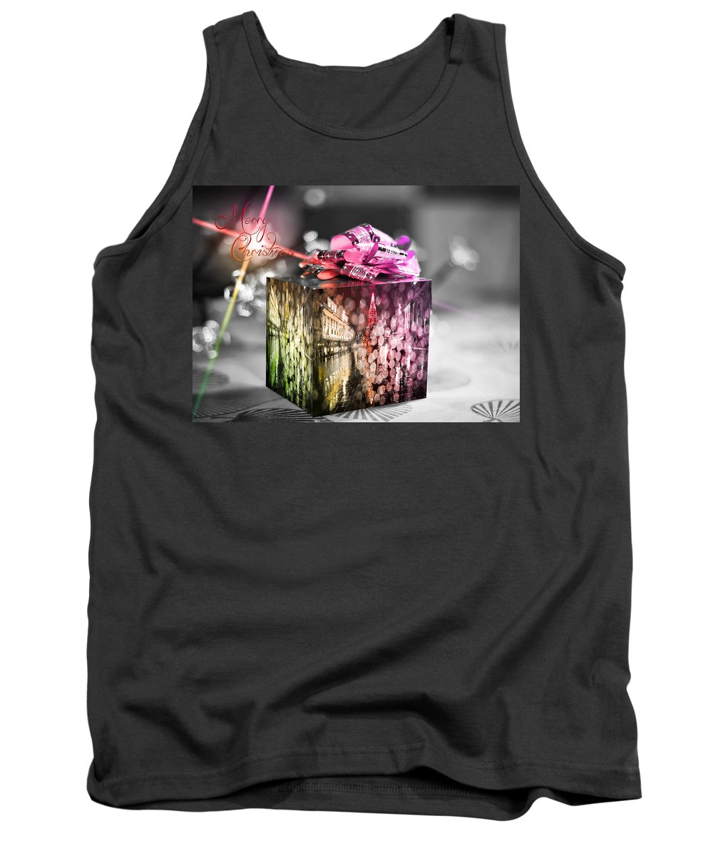 Merry Christmas And Happy New Year Tank Top featuring the photograph Christmas Gift V3 by Alex Art and Photo