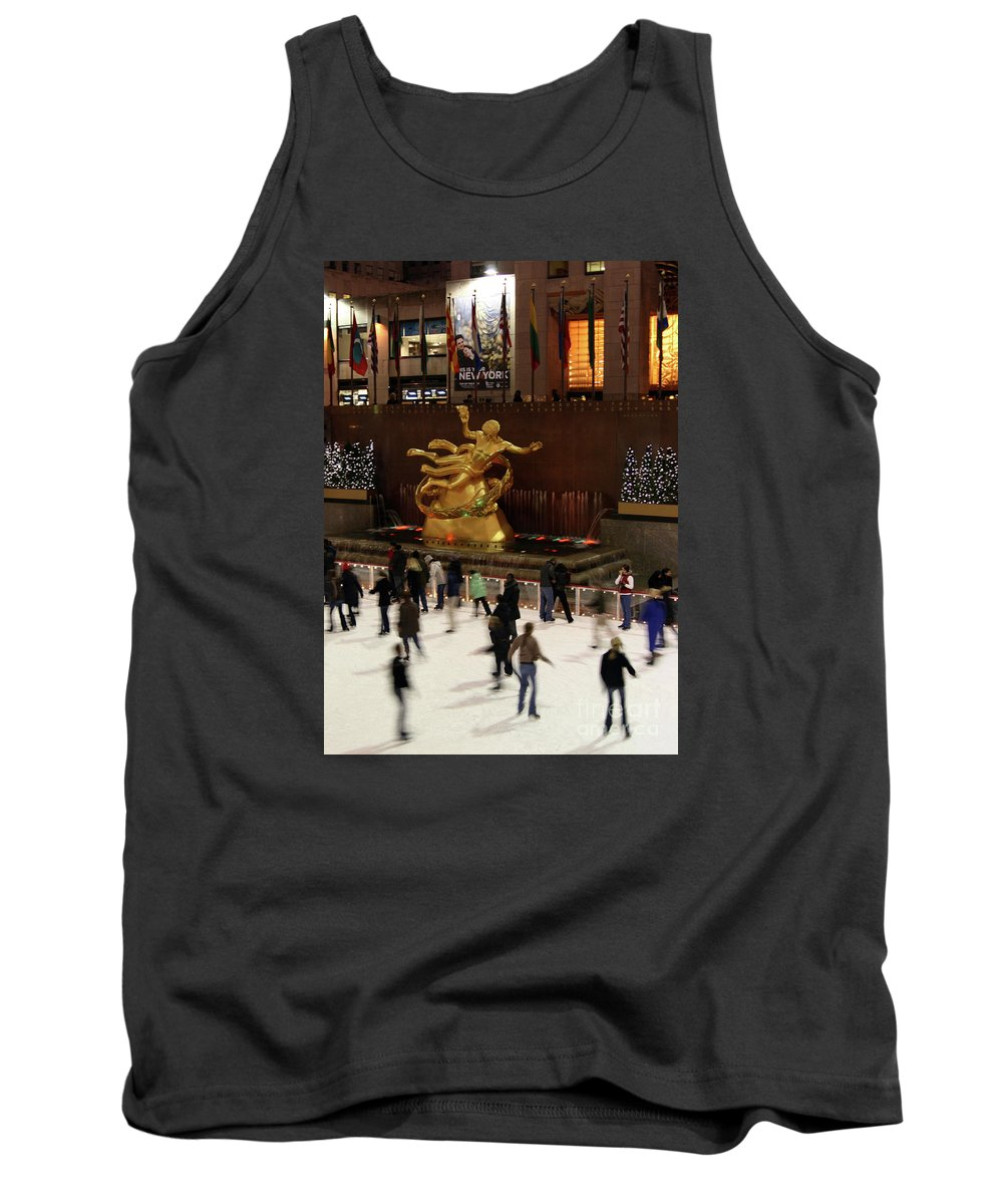 Winter Tank Top featuring the photograph Christmas Skating Ny Style by Karol Livote