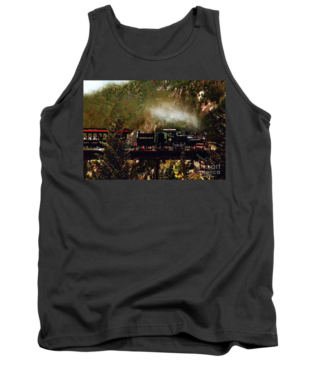 Americana Tank Top featuring the painting Chugging Across The Devil's Gate by RC DeWinter