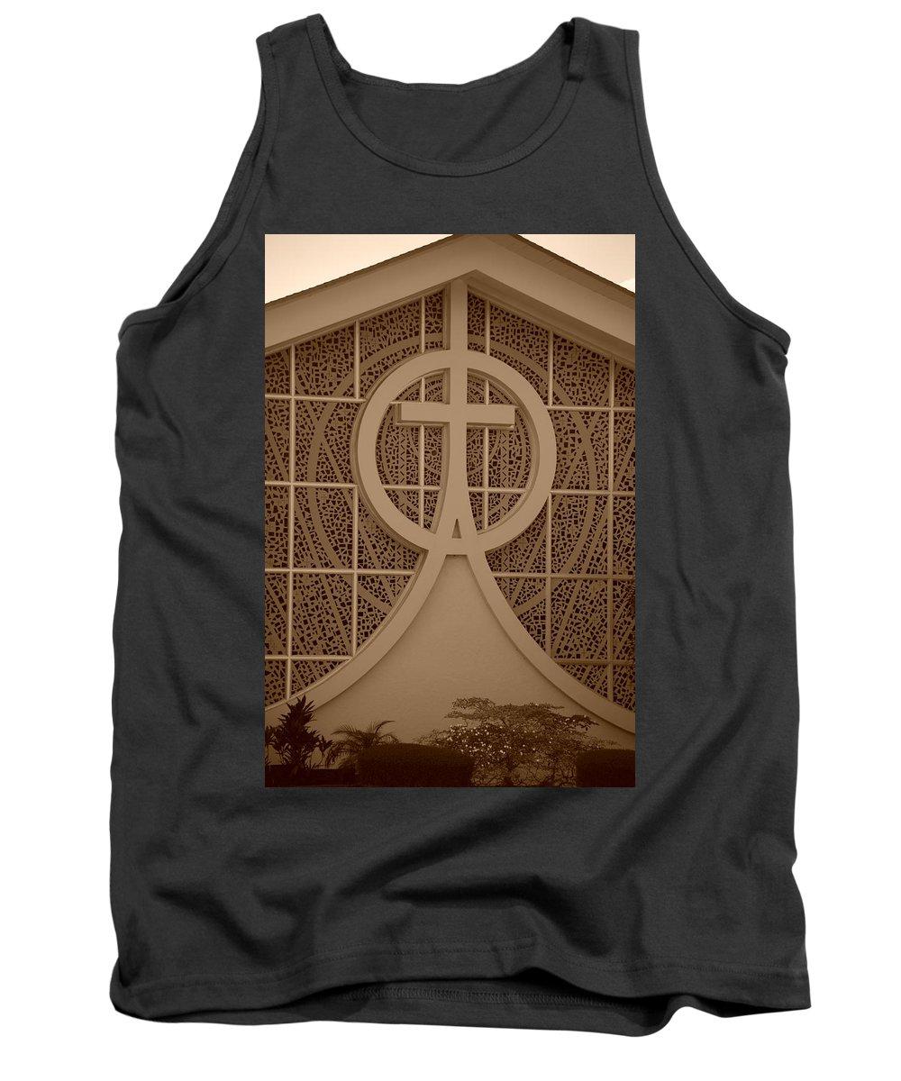 Sepia Tank Top featuring the photograph Circle T Church by Rob Hans