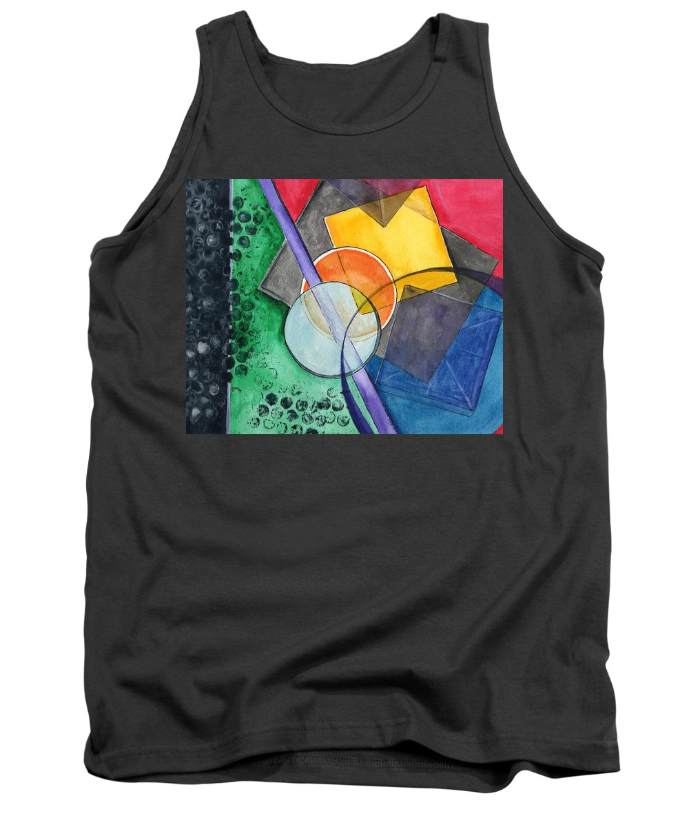 Watercolor Tank Top featuring the painting Circular Confusion by Brenda Owen