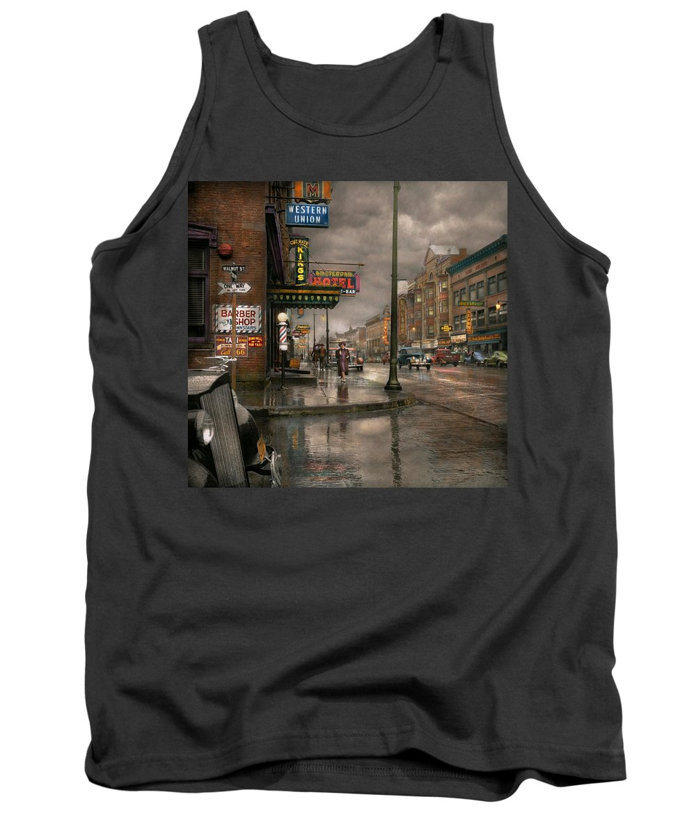 Colorized Tank Top featuring the photograph City - Amsterdam Ny - Call 666 For Taxi 1941 by Mike Savad