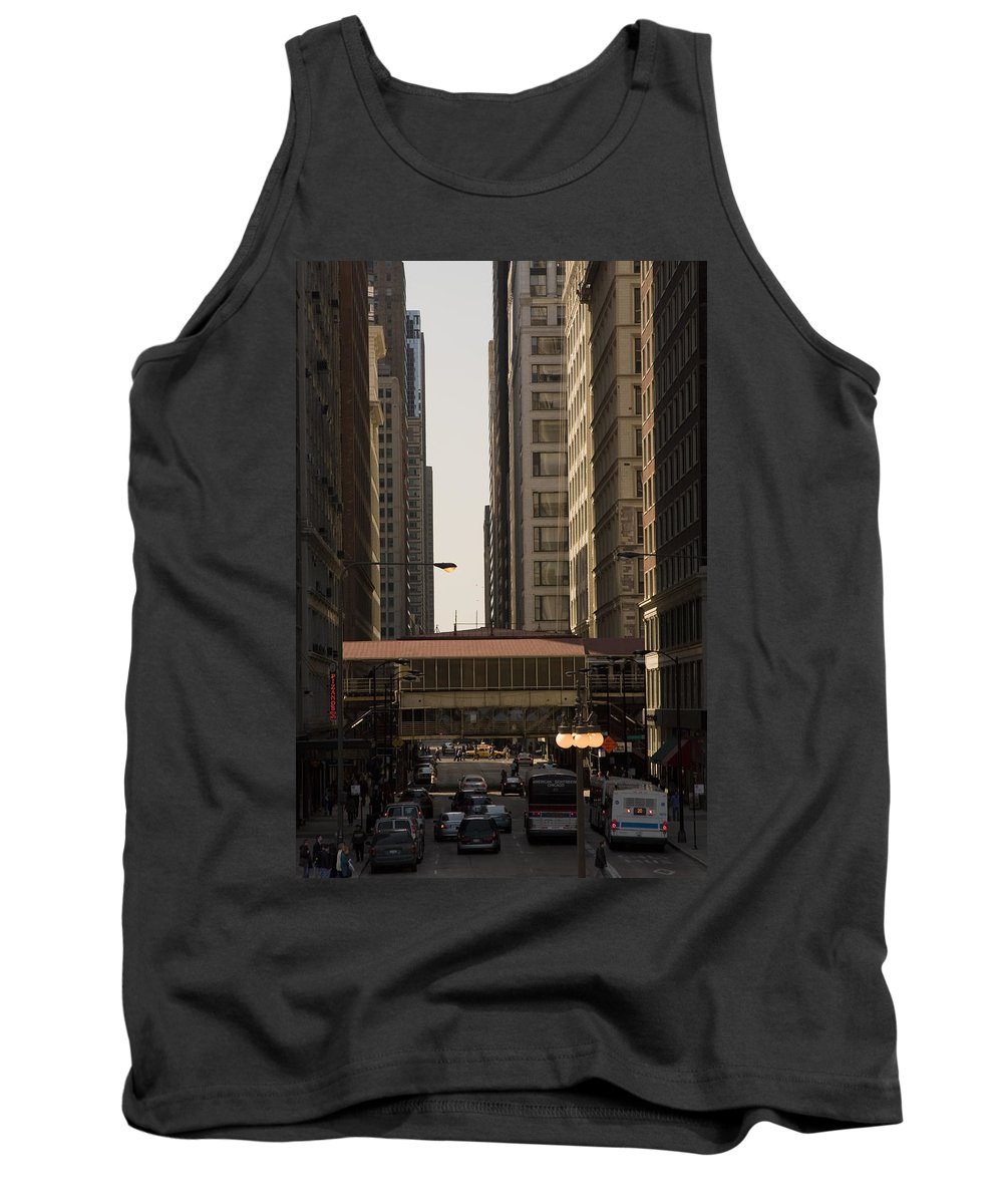 Chicago Windy City Street Trafic Bus People Building Skyscraper Metro Urban Tank Top featuring the photograph City Life by Andrei Shliakhau
