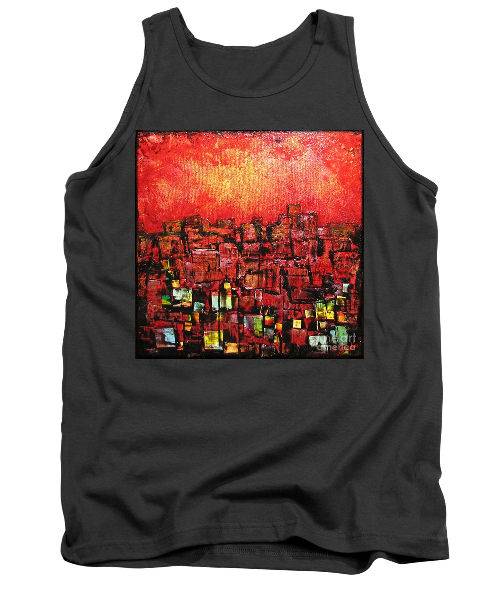 Abstract Tank Top featuring the painting City Lights by Shadia Derbyshire