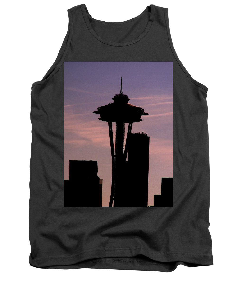 Seattle Tank Top featuring the digital art City Needle by Tim Allen