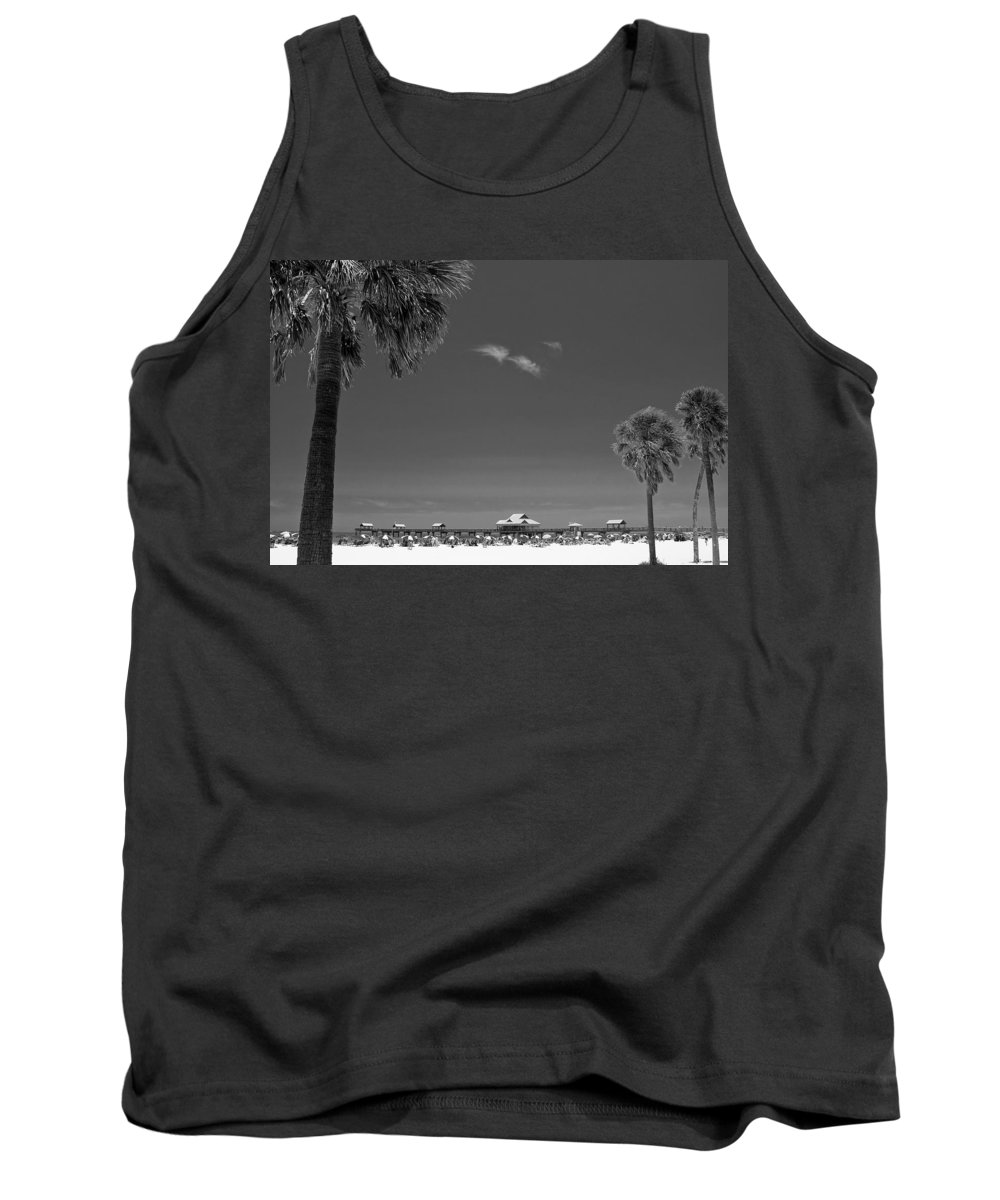 3scape Tank Top featuring the photograph Clearwater Beach Bw by Adam Romanowicz
