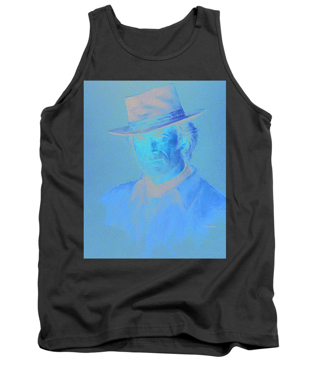 Clint Eastwood Portrait Tank Top featuring the pastel Clint Eastwood by Charles Vernon Moran
