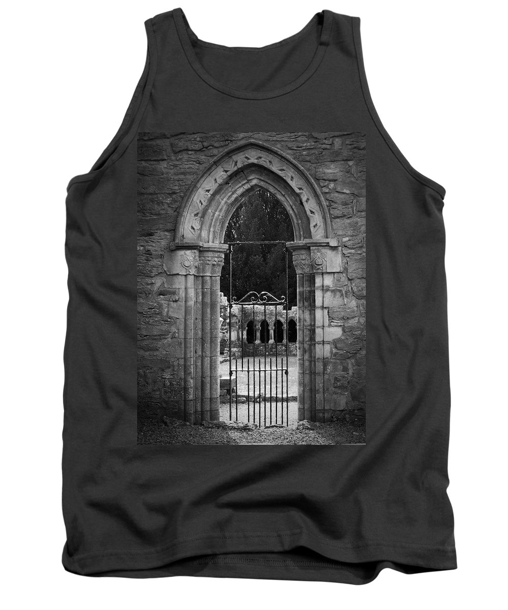Irish Tank Top featuring the photograph Cloister View Cong Abbey Cong Ireland by Teresa Mucha