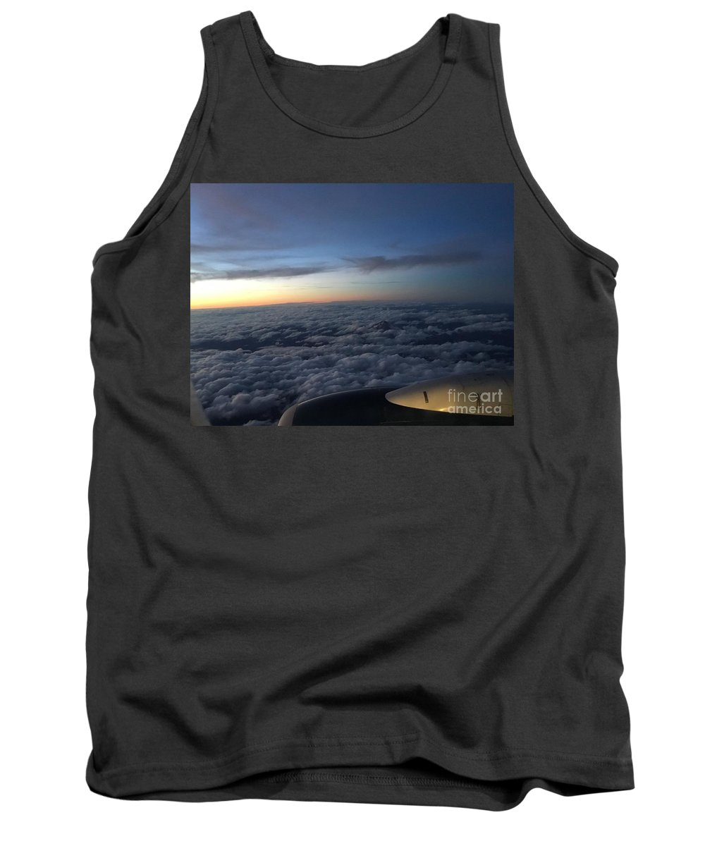Clouds Sky Blue Engine Airplane Plane Horizon Orange White Puffy Horizon Tank Top featuring the photograph Clouds And Plane by Porter Taxin